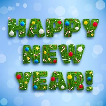 Feliz año nuevo inscripción hecha de ramas de abeto