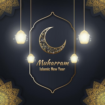 Feliz año nuevo islámico muharram evento imagen vectorial editable
