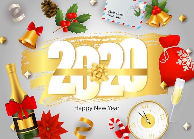 Feliz año nuevo, letras 2020, champaña, reloj, muérdago