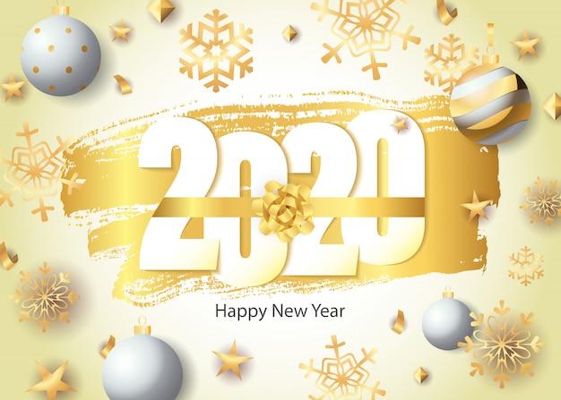 Feliz año nuevo, letras 2020, copos de nieve dorados y bolas
