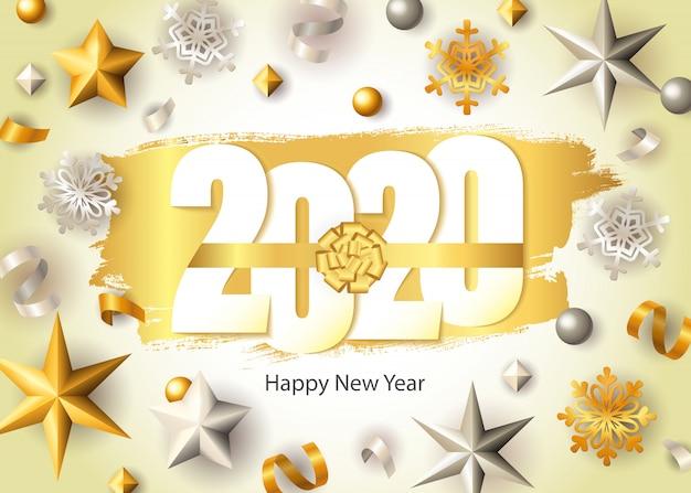 Feliz año nuevo, letras 2020, copos de nieve dorados y estrellas