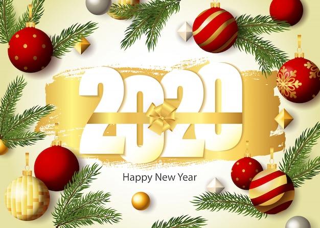 Feliz año nuevo, letras 2020, ramas de abeto y adornos