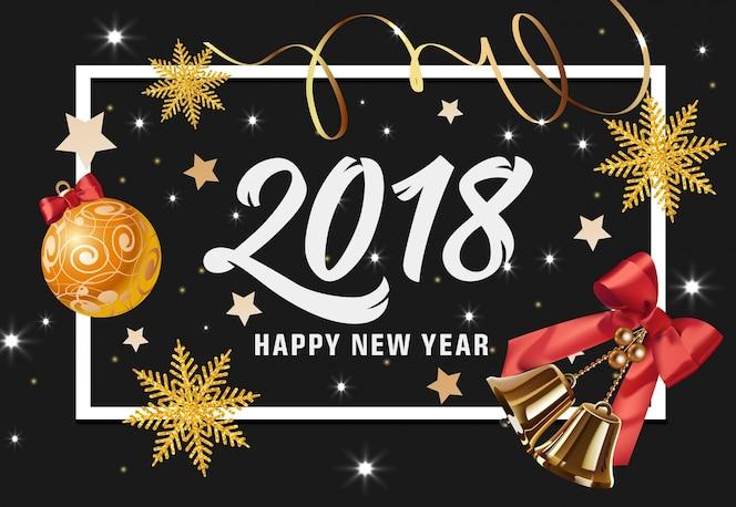 Feliz año nuevo letras con adornos y campanas