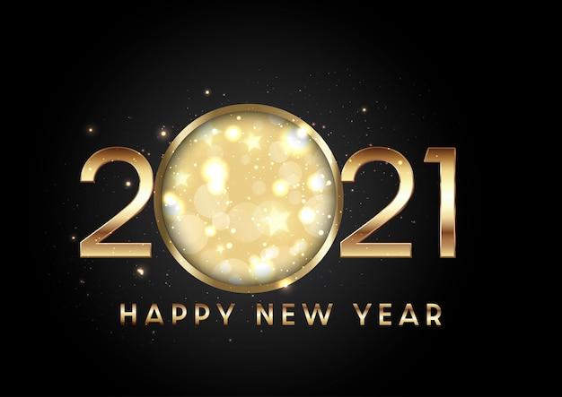 Feliz año nuevo con letras doradas y números con diseño de estrellas y luces bokeh