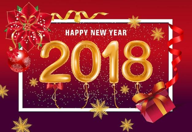 Feliz año nuevo letras con globos
