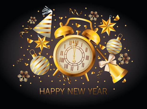 Feliz año nuevo letras con ilustración de reloj despertador dorado