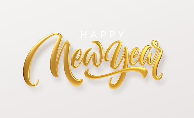 Feliz año nuevo. letras de metal dorado realista aisladas sobre fondo blanco.