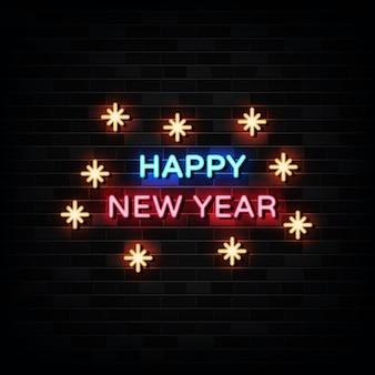 Feliz año nuevo letrero de neón. plantilla de diseño estilo neón