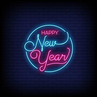 Feliz año nuevo letreros de neón estilo vector de texto