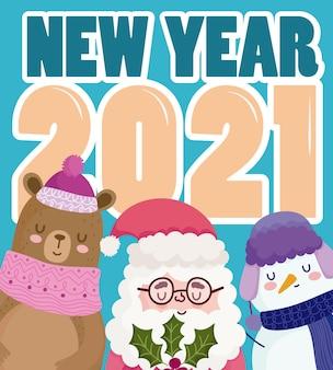 Feliz año nuevo lindo muñeco de nieve santa y oso con número y tarjeta de texto