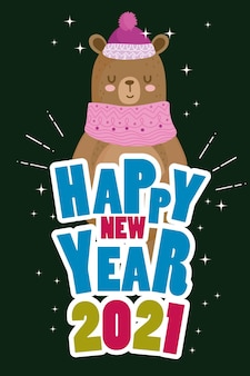 Feliz año nuevo lindo oso con suéter, sombrero y fuente de color