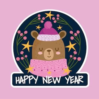 Feliz año nuevo lindo oso con tarjeta de suéter y sombrero