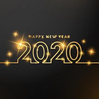 Feliz año nuevo con líneas doradas