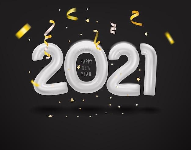 Feliz año nuevo logo con globos