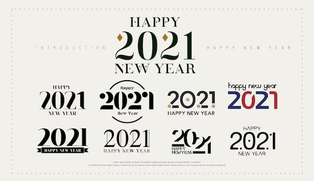 Feliz año nuevo logo. número celebrar para plantilla de logotipo.