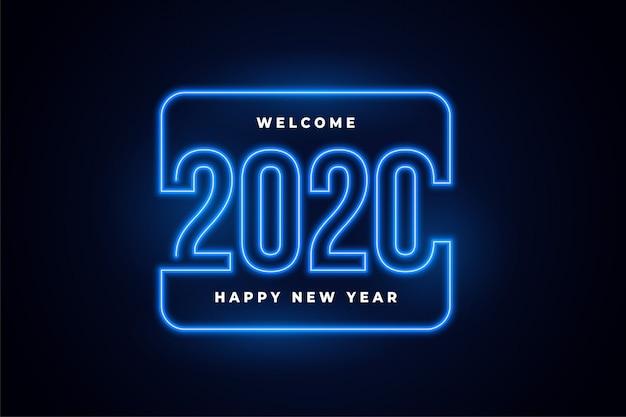 Feliz año nuevo luces de neón brillante fondo