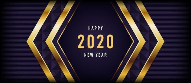 Feliz año nuevo con lujoso fondo morado oscuro