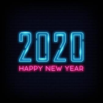 Feliz año nuevo luz neón. banner de cartel ligero.