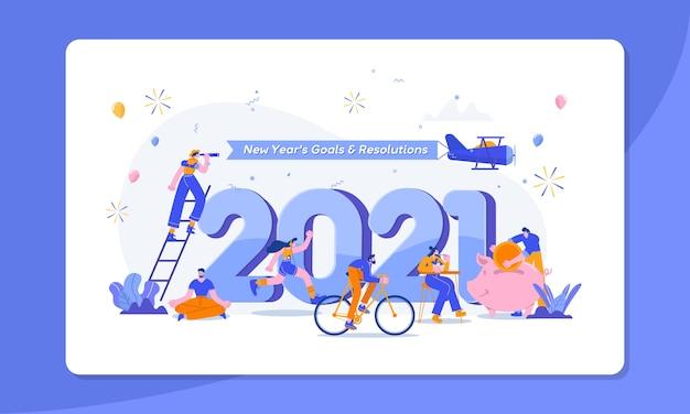 Feliz año nuevo metas y resoluciones concepto ilustración gente pequeña divirtiéndose con sus metas