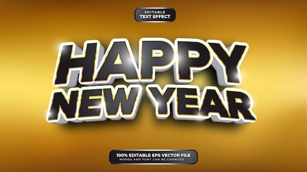 Feliz año nuevo negro dorado blanco efecto de texto editable 3d