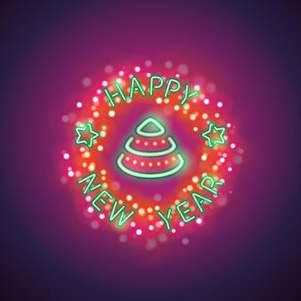 Feliz año nuevo neon con magia