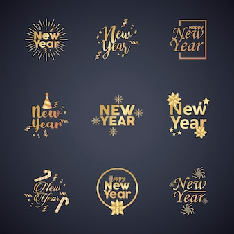 Feliz año nuevo nueve letras doradas ilustración