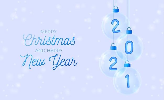 Feliz año nuevo. número azul en adorno de cristal.
