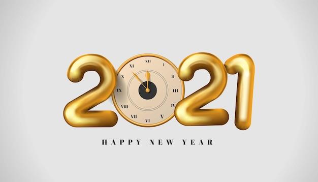 Feliz año nuevo número dorado realista con fondo de caja de regalo