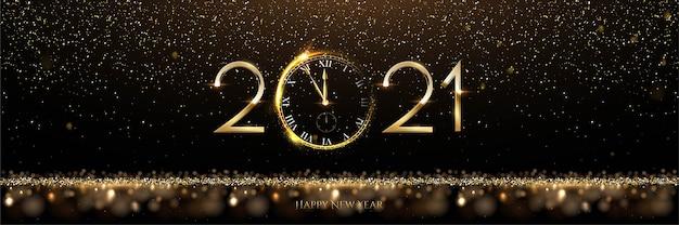 Feliz año nuevo con número de oro y reloj.
