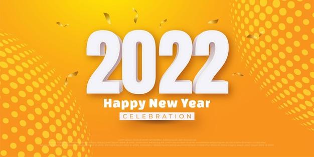 Feliz año nuevo número de texto editable con estilo 3d sobre fondo amarillo