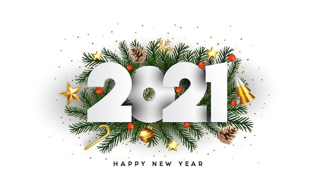 Feliz año nuevo, números 2021 en ramas de abeto verde y adornos navideños sobre fondo blanco. plantilla de cartel de promoción o tarjeta de felicitación. .