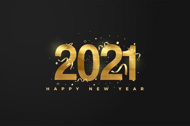 Feliz año nuevo con numeros dorados