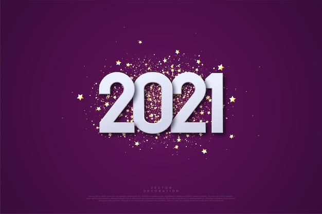 Feliz año nuevo con números y esparciendo pedazos de papel dorado.