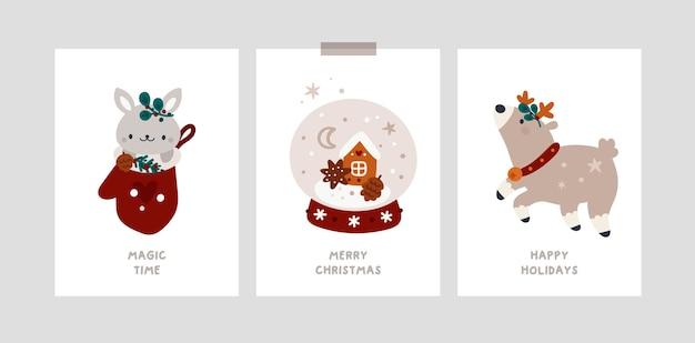 Feliz año nuevo o postales de feliz navidad, cartel. tarjetas de felicitación navideñas festivas