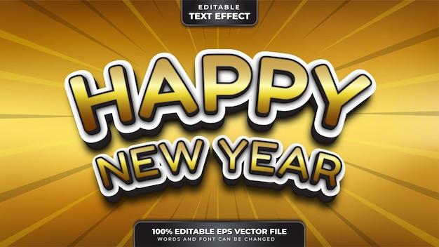 Feliz año nuevo oro blanco efecto de texto editable 3d