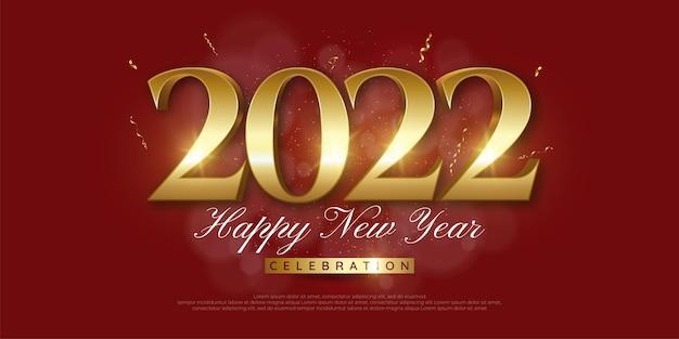 Feliz año nuevo oro de lujo número editable con confeti, brillos y cintas serpentinas