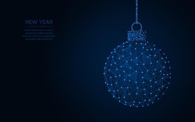 Feliz año nuevo palabra imagen geométrica abstracta de bola de navidad, ilustración de vector poligonal de malla de alambre hecha de puntos y líneas