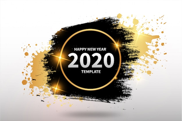 Feliz año nuevo plantilla con banner abstracto