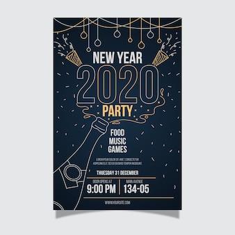 Feliz año nuevo plantilla de póster