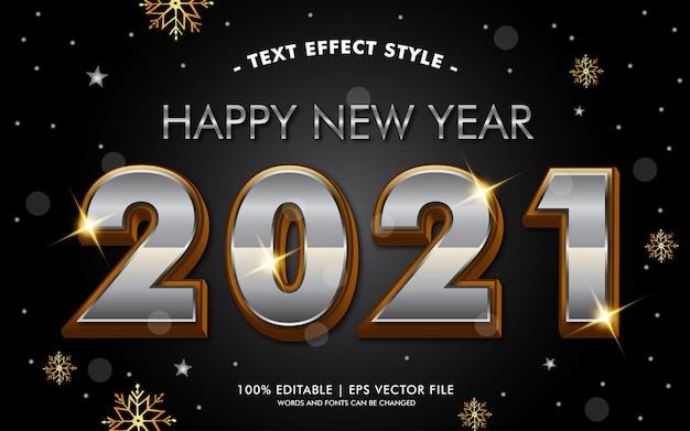 Feliz año nuevo plata oro efectos de texto estilo