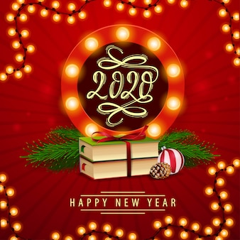 Feliz año nuevo, postal de cuadrado rojo con emblema redondo
