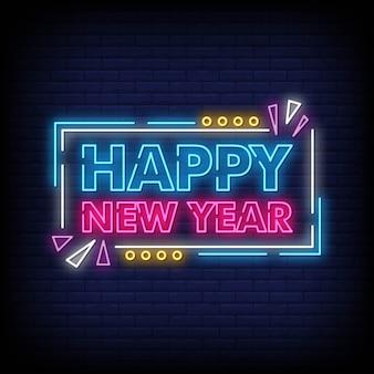 Feliz año nuevo para póster en estilo neón