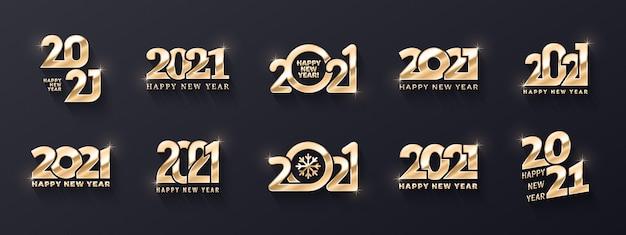 Feliz año nuevo premium golden logo diferentes variaciones d colección de plantillas de texto