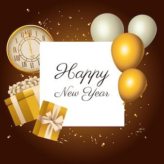 Feliz año nuevo reloj dorado y letras con globos helio ilustración