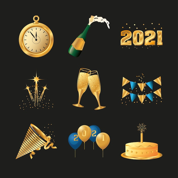Feliz año nuevo reloj dorado tazas de pastel e iconos de champán ilustración