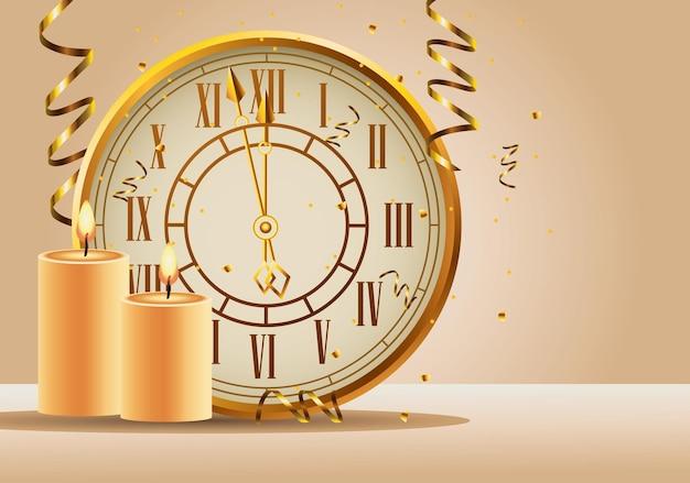 Feliz año nuevo reloj dorado y velas ilustración
