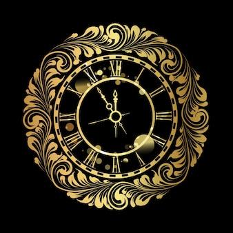 Feliz año nuevo reloj de oro sobre fondo negro.