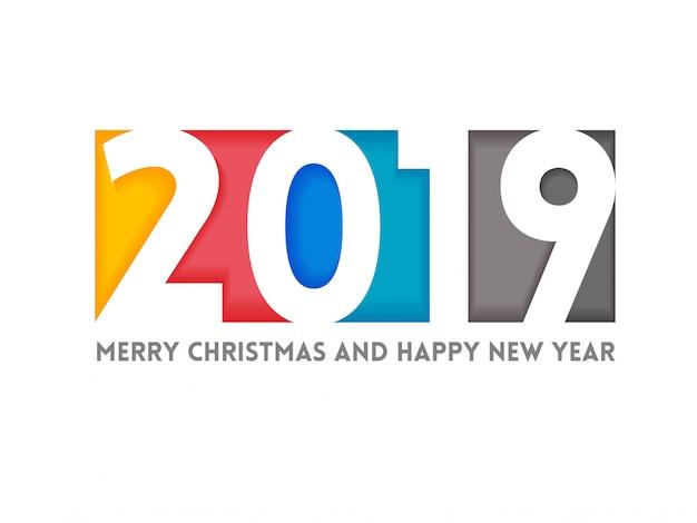 Feliz año nuevo saludo ilustración con colores 2019 números.