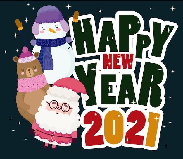 Feliz año nuevo santa oso muñeco de nieve divertido mensaje