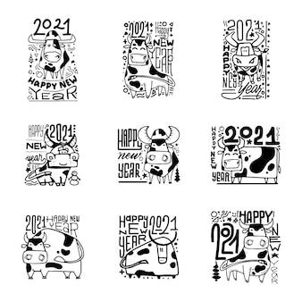 Feliz año nuevo set carteles. año del buey 2021.